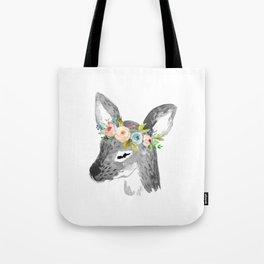 Floral Deer Tote Bag