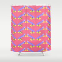 skateboard Shower Curtains featuring Skateboard chevron print by Oh Monday