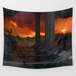 Drevos - Sci Fi - Sunset - Science Fiction - ZG 3D Wall Tapestry