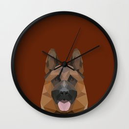 Low Poly German Shepherd Wall Clock