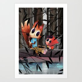 Caperucita Roja y el Lobo hacen un picnic Art Print