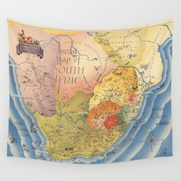 1937 Vintage Map of South Africa Wall Tapestry