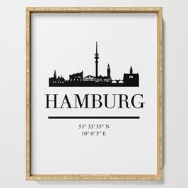 HAMBURG GERMANY BLACK SILHOUETTE SKYLINE ART Serving Tray