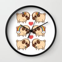 asexual Wall Clocks featuring Puglie Pride by Puglie Pug