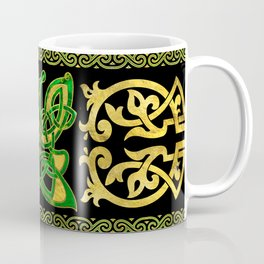 Celtic Butterfly - Green marble and gold Coffee Mug