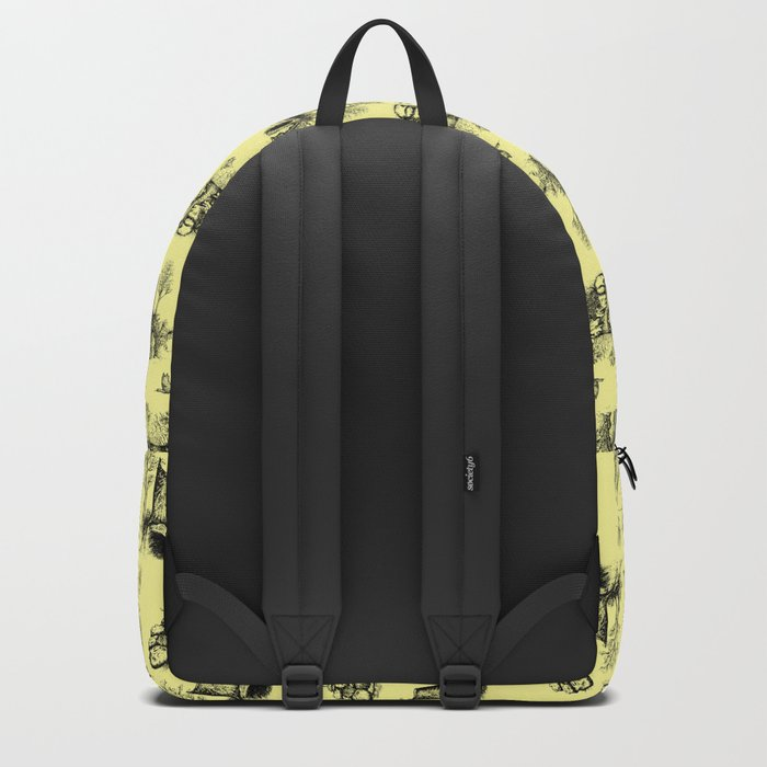 Eurasian Wolf Toile Pattern (Yellow and Black) Backpack