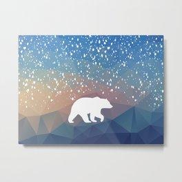 Beary Snowy in Blue Metal Print