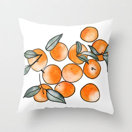 Watercolor Clementines Throw Pillow