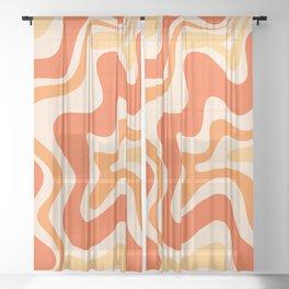Tangerine Liquid Swirl Retro Abstract Pattern Sheer Curtain