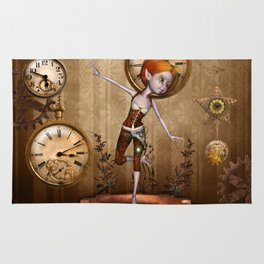 Cute little steampunk girl with clocks and gears Rug