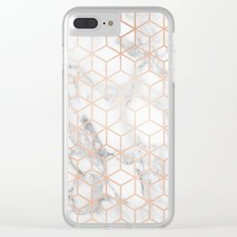 Marble & Rose Gold Squares Clear iPhone Case