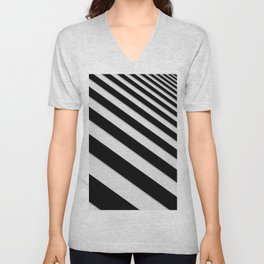 Perspective Solid Lines - Black and White Stripes - Digital Illustration - Artwork Unisex V-Neck