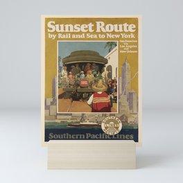 retro  Sunset Route vintage poster Mini Art Print