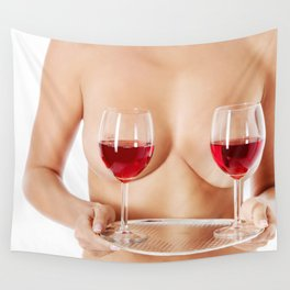 Exotic wine glasses covering breasts Wall Tapestry