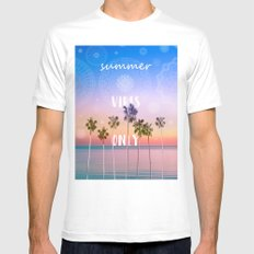 summer vibes only palm trees design MEDIUM White Mens Fitted Tee