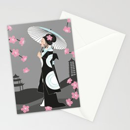 Japanese Geisha under Cherry Blossoms Stationery Cards