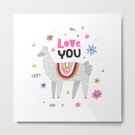 Love you lama Metal Print