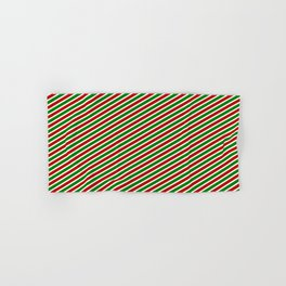 Christmas-Inspired Red, White, and Green Colored Striped/Lined Pattern Hand & Bath Towel