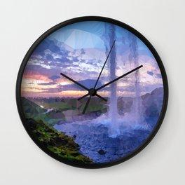Waterfall Sunset Low Poly Geometric Triangles Wall Clock