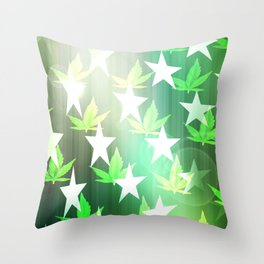 Patriotic Stars and Cannabis Design Throw Pillow