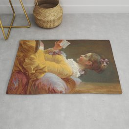 Young Girl Reading Painting by Jean-Honoré Fragonard Rug
