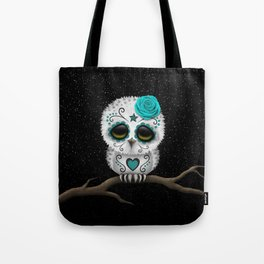 Adorable Teal Blue Day of the Dead Sugar Skull Owl Tote Bag