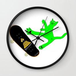 """""""Skateboading Ninja Cat"""", by Brock Springstead Wall Clock"""