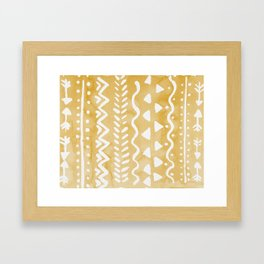 Loose bohemian pattern - yellow Framed Art Print