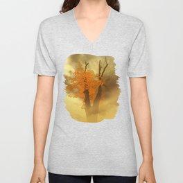 Last Yellow Leaves On Dark Branches Unisex V-Neck
