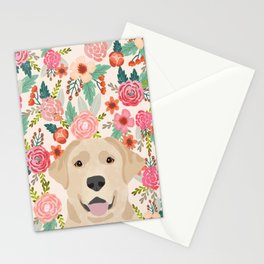 Labrador Retriever yellow lab floral pattern cute florals dog breed pure breed dog lover gifts Stationery Cards