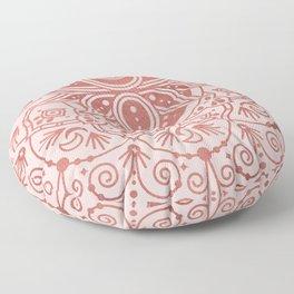 Sacred Lotus Mandala – Rose Gold & Blush Palette Floor Pillow
