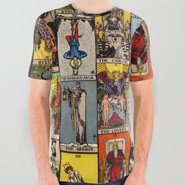 The Major Arcana Tarot Collage All Over Graphic Tee