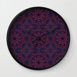 Red Blue Kaleidoscope Wall Clock