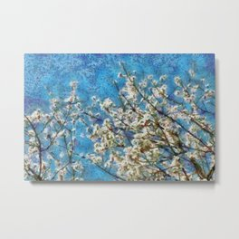 Blossom and Blue Sky In Monet Style Metal Print