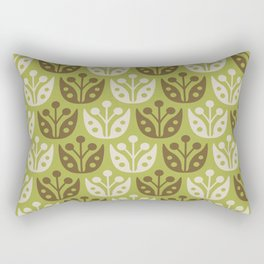 Mid Century Modern Flower Pattern Chartreuse and Brown 112 Rectangular Pillow