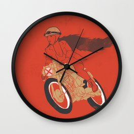 long hair girl riding a motorcycle Wall Clock