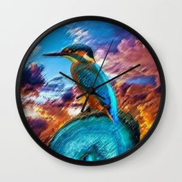 Kingfisher at Sunset on the African Plains Wall Clock