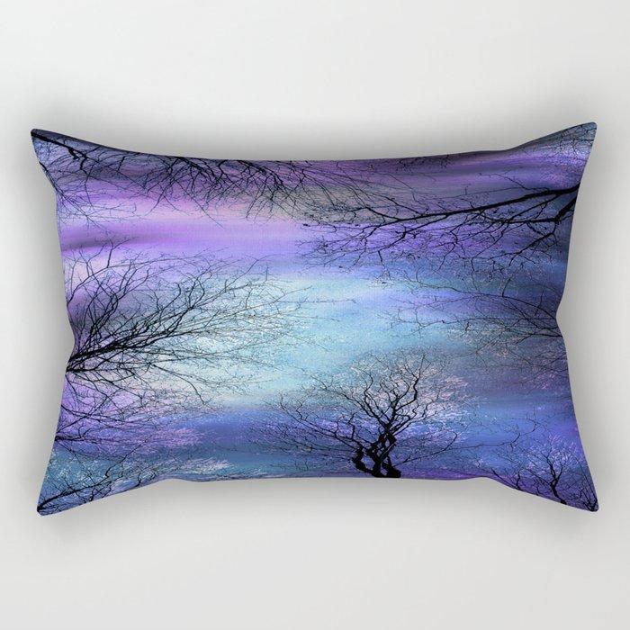 Black Trees Purple Blue Abstract Sky Rectangular Pillow