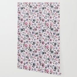 Watercolor floral pattern n.4 on pale pink Wallpaper