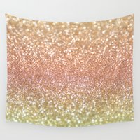 champagne Wall Tapestries featuring Champagne Shimmer by Lisa Argyropoulos