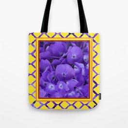 Interior Design Purple Floral Yellow Lattice Tote Bag
