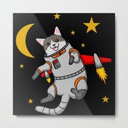 Funny cartoon cat astronaut in space kids gifts Metal Print
