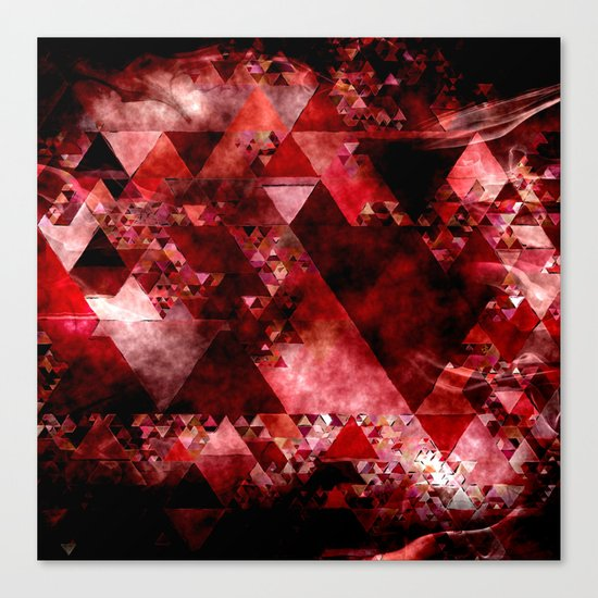 Dark hell- geometrical triangle - modern red backdrop on #Society6 Canvas Print