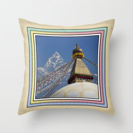 BOUDHANATH AND MACHAPUCHARE NEPAL COMPOSITE Throw Pillow