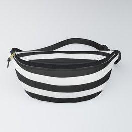 Black and White Medium Stripes Pattern Fanny Pack
