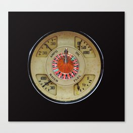 Custom Car Instrument Design with Lucky Roulette Wheel Canvas Print