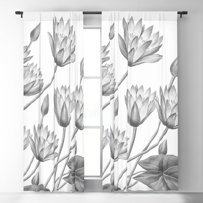 Water Lily Black And White Blackout Curtain