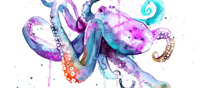Octopus Watercolor Art Coffee Mug