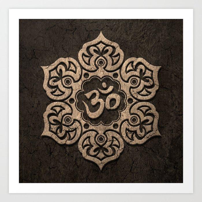 Aged stone lotus flower yoga om art print by jeffbartels society6 aged stone lotus flower yoga om art print mightylinksfo
