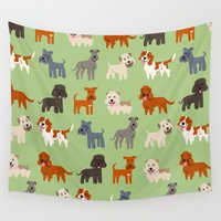 irish Wall Tapestries featuring IRISH DOGS by DoggieDrawings